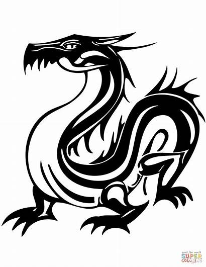 Tattoo Coloring Dragon Oriental Pages Tiger Printable