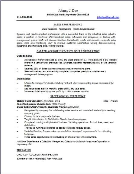 technical sales resume occupationalexamplessamples
