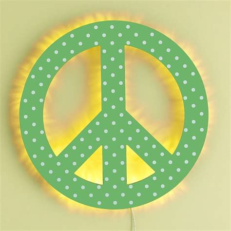 green dottie peace sign wall light pbteen