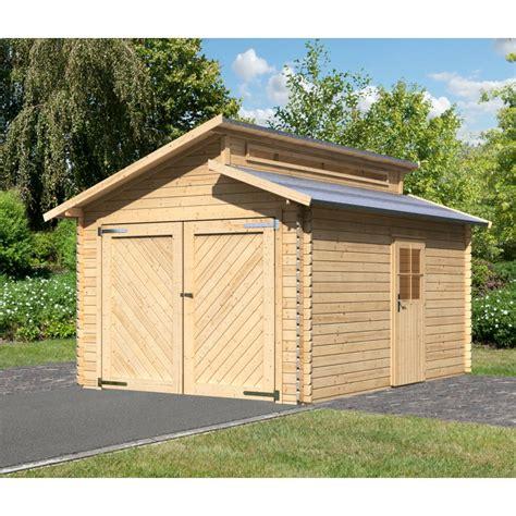 Garage En Bois Massif 14,62m² Toit Gradin  Madriers 28mm