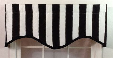 Black And White Valance by Black And White Striped Shaped Valance With Black Pleated