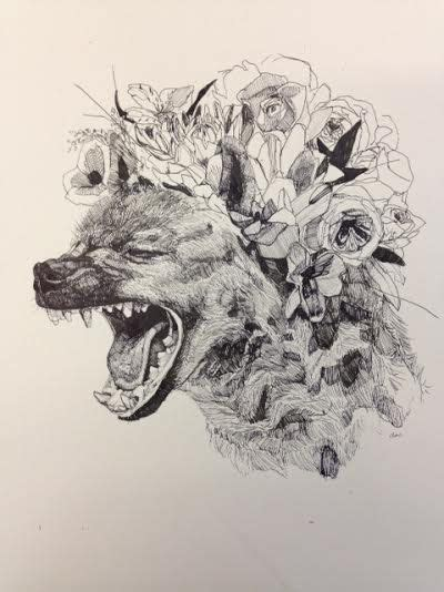 Hyena With Flower Crown Original Drawing
