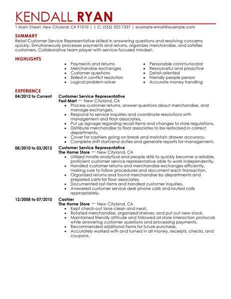 retail customer service resume sle