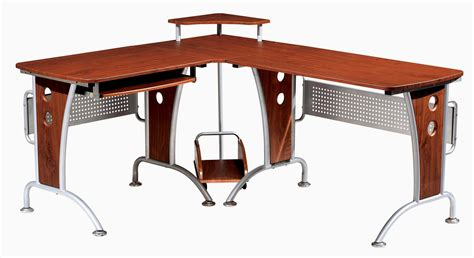 metal table l shades l shaped computer desk made from teak wood material mixed