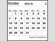 October 2018 Calendar India Qualads