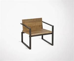 Chaise De Salon Design : chaise de salon lounge style brut en bois et m tal par j line ~ Teatrodelosmanantiales.com Idées de Décoration