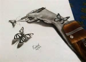 3D Butterfly Pencil Drawings