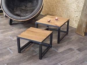 Table Basse Bois Metal : table basse gigogne en bois et m tal industriel micheli design ~ Teatrodelosmanantiales.com Idées de Décoration