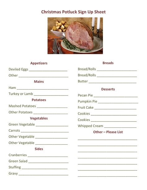 christmas sign up sheet potluck dinner sign up sheet printable loving printable