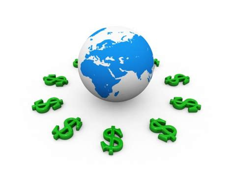 green dollar signs  globe  international economy