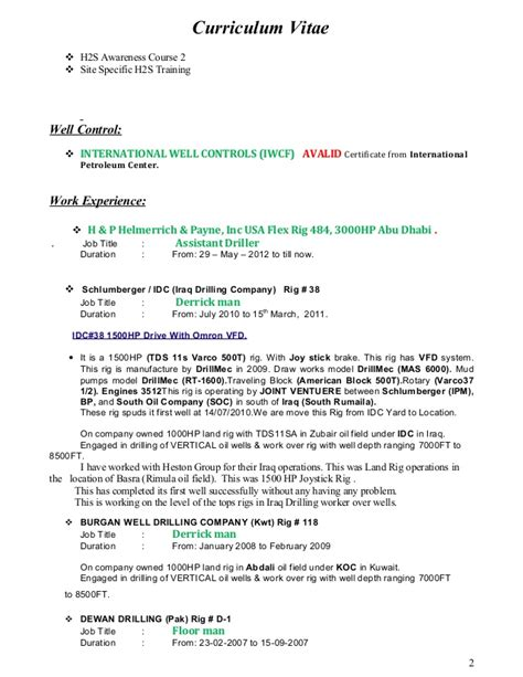 Driller Resume Exle by Assistant Driller