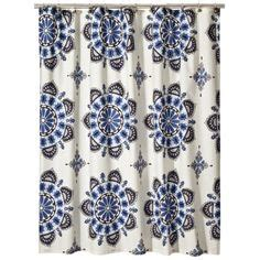 Blue Medallion Curtains Walmart by Ticking Stripe Shower Curtains And Curtains On