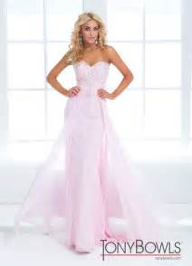 Tony Bowls 2014 Pink Blue White Strapless Lace Beaded
