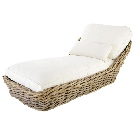 garden chaise longue in rattan with ivory cushions st