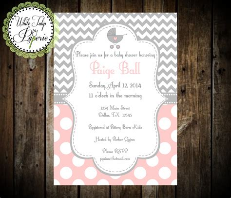 baby shower invitations pink and grey pink and gray baby shower invitation chevron and polka dot