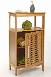meuble sdb 1 porte bambou With meuble rangement salle de bain bambou