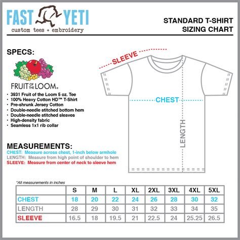 FastYetiTees.com - Size Charts