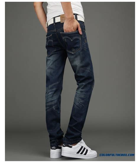 cheap young men jeans broken hole slim straight retro korean version  clothing sale