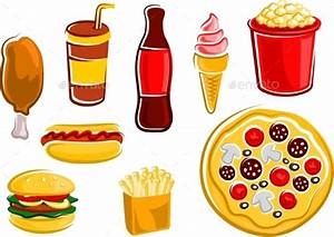 Cartoon Fast Food Drinks And Snacks by seamartini ...