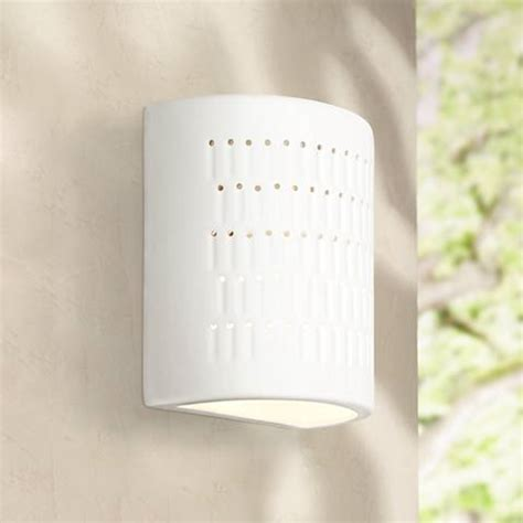 zenia 10 quot high white ceramic outdoor wall light w2761