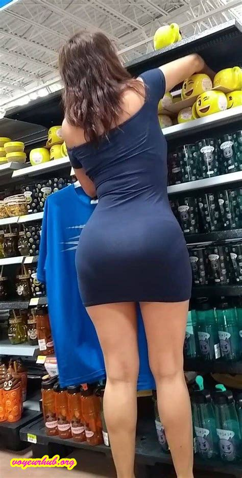 milf in a tight dress spotted at the supermarket looking