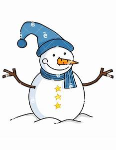 Snowman Wearing Blue Christmas Hat And Scarf Cartoon ...