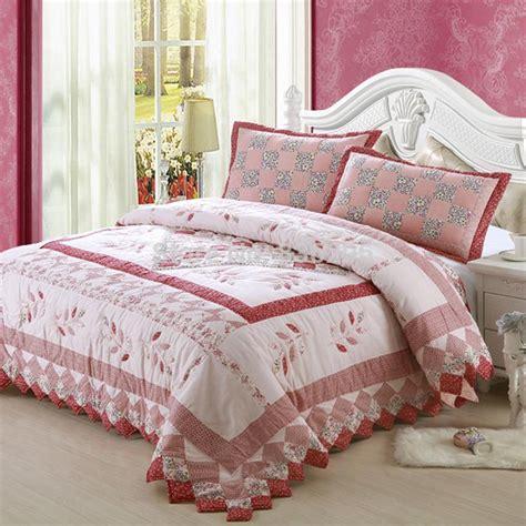 100 cotton pink floral bedding set quilted comforter
