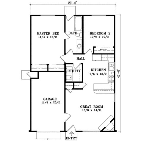Ranch Style House Plan 2 Beds 1 00 Baths 921 Sq/Ft Plan