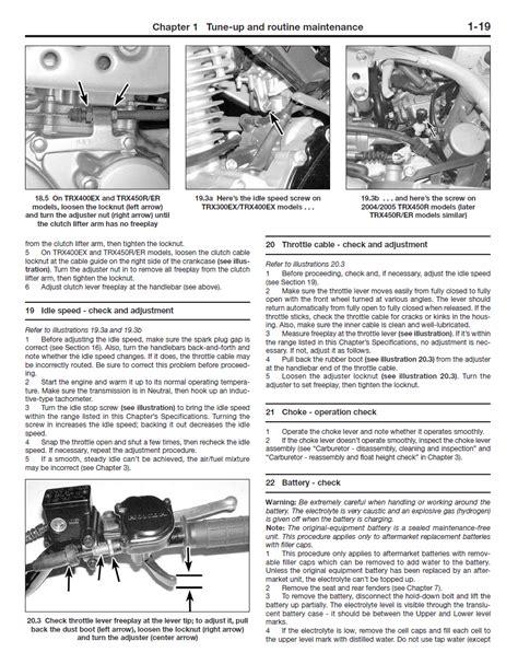 2006 Honda Trx450er Wiring Diagram by Honda Trx300 Trx400 Trx450 Trx450 Repair Manual 1996 2014