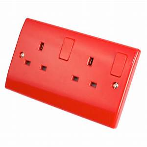13a 2 Gang Double Switched Socket Red - Sockets