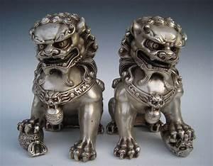 Chinese Antique Silver Guardian Lion Foo Fu Dog Door guard ...