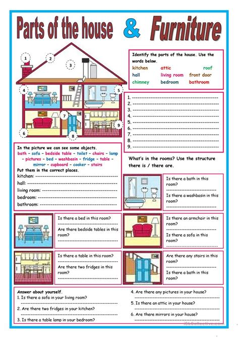 house  furniture vocabulary exercises  exercise poster