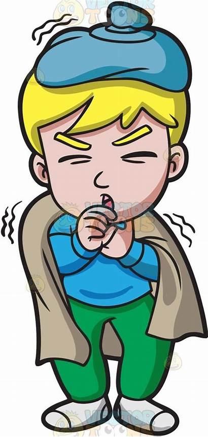 Sick Clipart Boy Feeling Cough Cartoon Sweater
