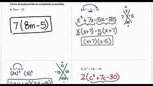 Algebra 1- Factoring Review