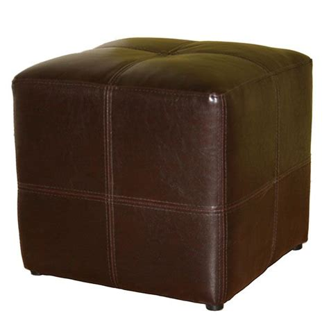 Cube Leather Ottoman by Noche Brown Bonded Leather Cube Ottoman Dcg Stores