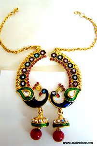 craftsvilla earrings earrings peacock with chain hook for hair rajasthani