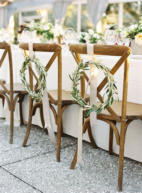 Bay Leaf Wreaths Chair Décor Sweetheart Chairs White