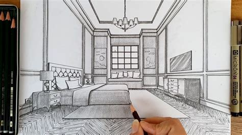 drawing  bedroom   point perspective timelapse