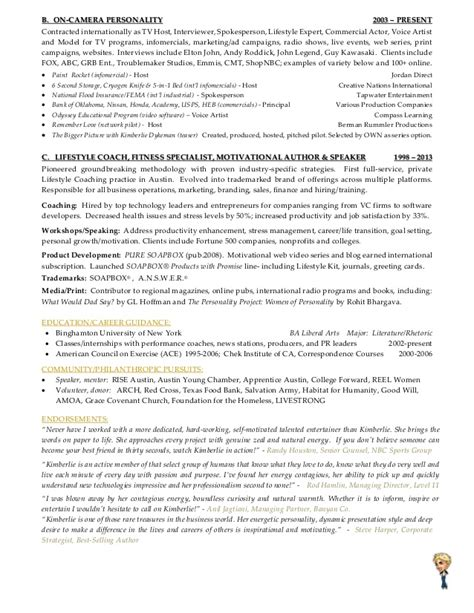 Morning America Resume Font by Kimberlie Dykeman Career Resume Of Tv Host Spokesperson