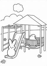 Peeps Coloring Pages Printable Marshmallow Park Bench Coloriage Bunny Easter Chick Getcolorings Info sketch template