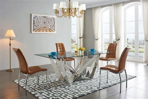 exclusive rectangular glass top modern dining set san