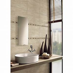 Wickes sofia beige travertine natural stone mosaic border for Wickes bathroom border tiles
