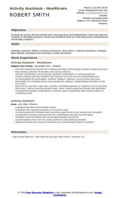 activities assistant resume exles 28 images simple