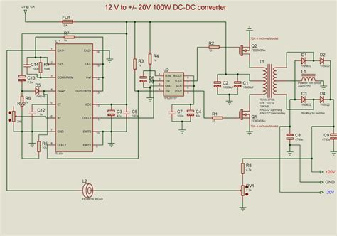 12v to 20v dc converter electronic circuit