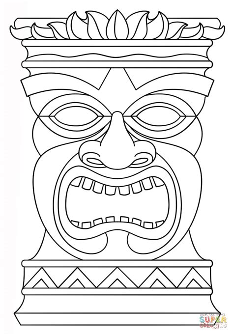 Kleurplaat Afrikaanse Hut by Tiki Totem Mask Coloring Page Free Printable Coloring Pages