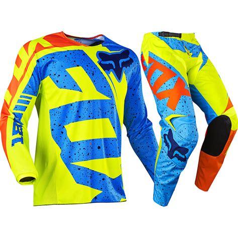 motocross gear fox fox racing 2017 mx new 180 nirv flo yellow blue jersey
