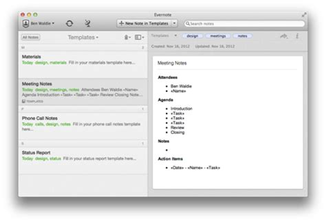 Evernote Meeting Notes Template by Create Evernote 5 Template Notebooks With Applescript