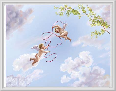 papier peint pour plafond baroque avec angelots ref fm1