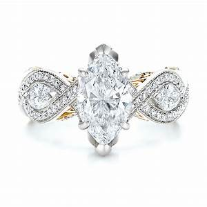 custom two tone and marquise diamond engagement ring With marquise wedding rings