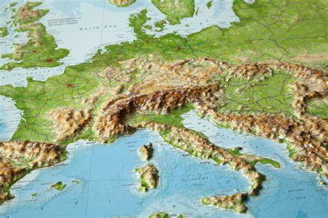 georelief - 3d raised relief maps Europe - geographical